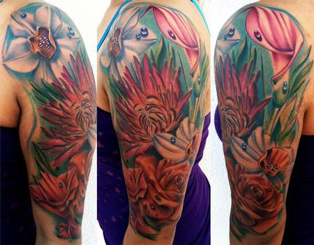 Brent Olson - Flower Half Sleeve Brent Olson Art Junkies Tattoo